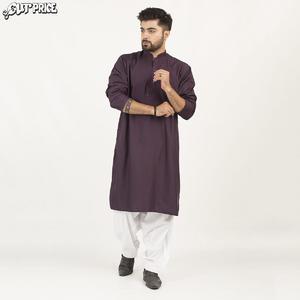 Cut Price Dark Shades Kurta Stitched Karhai for Men Dark Purple