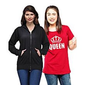 Ace Pack of 2 - Black Hoodie with Red Queen Printed Cotton T Shirt for Her