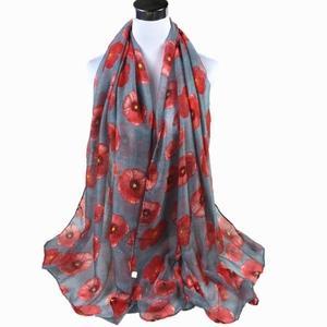 Red Poppy Print Long Scarf Flower Beach Wrap Ladies Shawl