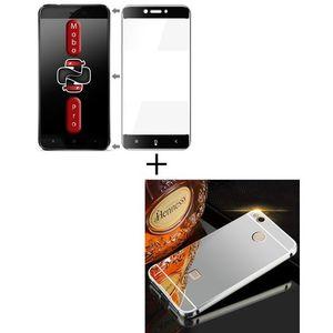 Pack of 2 - Xiaomi Redmi 4x Full Coverage Glass & Mirror Bumper Case - Black & Silver