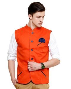Orange Cotton Waistcoat For Men