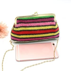 Ladies Knitting Rainbow Pattern Wallet Shoulder Bag C