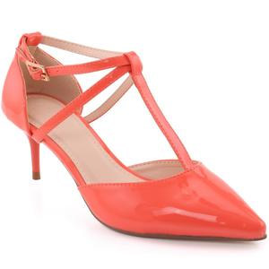 "Women ""Elvine"" Patent Ankle Strap Heel Cup T-Bar Stiletto Heel Sandals  L31404"