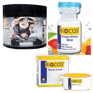 Pack Of 3: Biocos Cream With Biocos Serum and Charcoal Mask