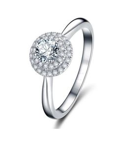 Azodia Jewelry Silver Rhodium Plated Cubic Zirconia Ring for Women