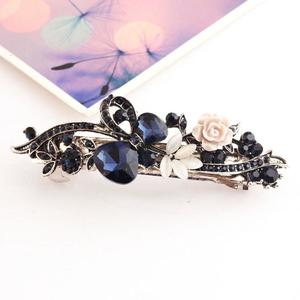 Classic Bow Gemstone Hairpin Side Clip Hair Accessories For Women blue  bow