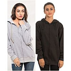 Fashion FactoryPack Of 2 Grey & Black Hoodie For Women