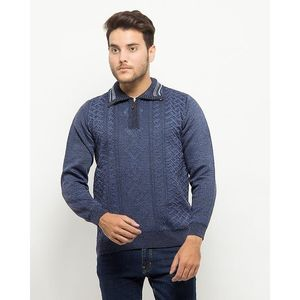 Daraz Warehouse Navy Blue Cotton Quarter Zipper Sweater with Collar