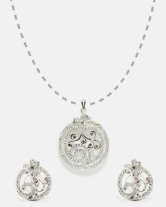 Anum Gold & Silver Jewellers New Classic 925 Sterling Silver & Zircons Diamond Pendant With Earring Set For Women