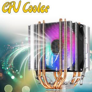 【   Flash Deal】CPU Cooler 4 Heatpipe 3Pin LED RGB Fans 90mm for LGA 775/1155/1156/1150/1366 AMD