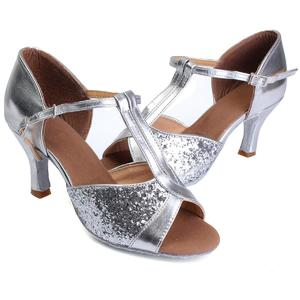 7cm Women Lady's Girl Ballroom Latin Tango Salsa Tango Dance Shoes Heeled Stilettos silver