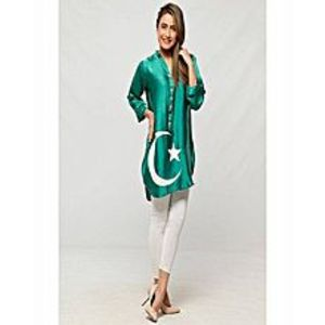 AH Collection Pakistan Green & White Cotton 14 August Suit For Women