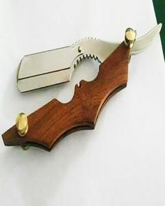 Barber Wood Handle Cut Throat Straight Razor Shaving Stainless Steel