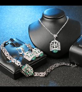 Bachat Express Turkish Jewelry Jewellery Sets For Women Fashion Design Antique Silver Plated Crystal Vintage Jewelry Set 3 Pcs Set Green and Silver Color Bracelet Necklace Locket and Earrings