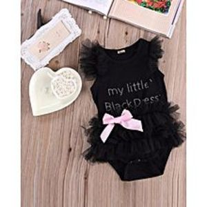 China Newborn Baby Girls Jumpsuits and Rompers Lace Black Dress