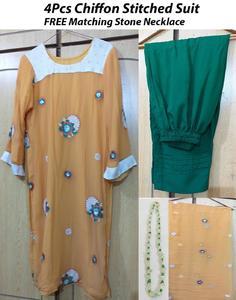 Online Shopping 4Pcs Stitched Yellow Chiffon Shirt Dupatta Slip Green Trousers FREE Necklace on Daraz pk - 325