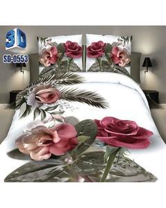 Multicolor Cotton 3D Double Bedsheet