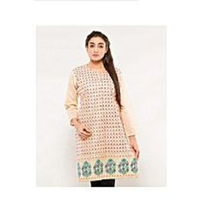 CLICKANDBUYBeige Cotton Embroidered Kurti For Women