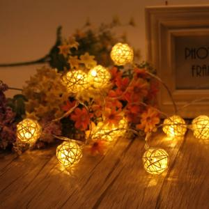 20 LED Light String Creative Rattan Ball Lamp Warm for Party Decor