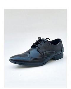 Black Leather Stitched Design Formal Shoes For Men