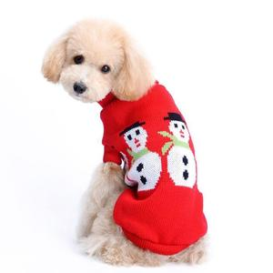 Pet Christmas Sweater Snowman Pet Red Lapel Sweater L