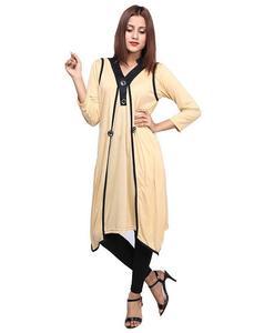 Shrug Style Stylish Kurti For Women Beige