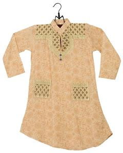 Skin Lawn Embroidered Kurta For Girls
