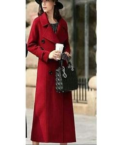 RED WOMEN EXTRA-LONG KOREAN FLEECE COAT