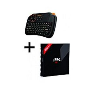 SMART GADGETSCombo of 2 - Mini Wireless Keyboard with Touchpad S1 & H96 Pro Plus TV Box 3GB/32GB - Black
