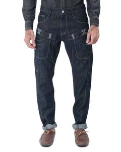 Blue Denim Jeans with  Rough Patch Work - M-2197-A-32