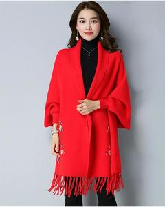 Red Embroidery Shawl For Women