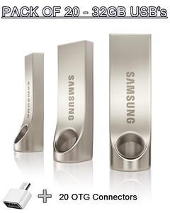 PACK OF 20 - SAMSUNG 32GB USB's 3.0 Flash Drives + 20 OTG's