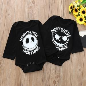Perfect Meet new authentic warm Korean version of handsome Halloween Toddler Baby Long Sleeves Cartoon Grimace Letter Print Romper Jumpsuit