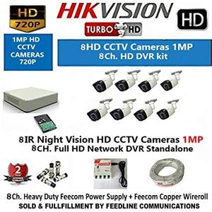 Hikvision 8CH Turbo HD Metal DVR with 1MP (720P) 2 Dome and 1 Bullet Cameras Combo Kit without Hard Disk.