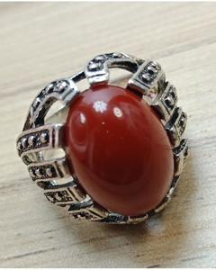 Artificial Marjan Gemstone Silver Ring for Men