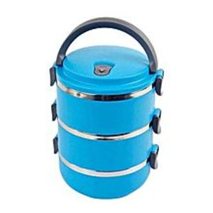akiamore3 Layer Stainless Steel Lunch Box - Blue
