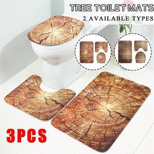 3PCS Bathroom Non-Slip Rug Door Carpet Tree Toilet Lid Cover Mat Flannel