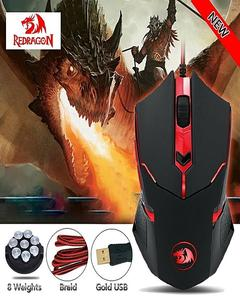 Redragon M601 Wired Gaming Mouse, Ergonomic, Programmable 6 Buttons, 3200 DPI with Red LED Mouse for Windows PC Games - Black