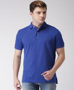 Men Blue Solid Polo Collar T-shirt
