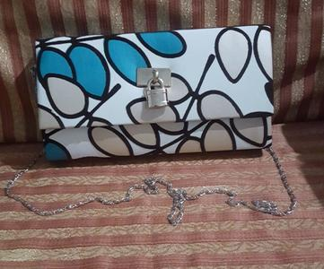 White Stylish Clutch Purse With Long Silver Chain For Women