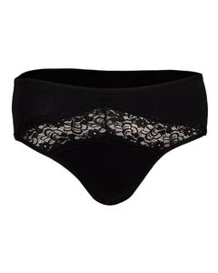 Slip Collection Black Cotton Laced Midi Slip Panty for Women