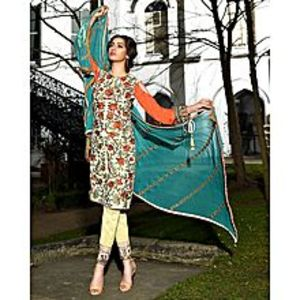 Asim JofaOff White Embroidered Unstitched Luxury Lawn 3Pcs Suit for Women