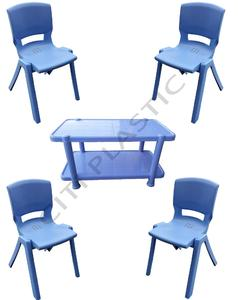 Chief (Boss) Set Of 4 Hotel / Restaurant/ Garden without arm Plastic Chairs And Plastic Table - Blue