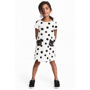 Toddler Baby Kid Girl Cartoon Cat Print Polka Dot Dress Clothes