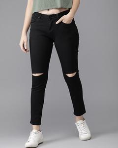 Damage Black Slim Fit Jeans For Women