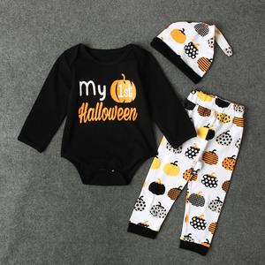 Boys Children Spring Fall Halloween Pumpkin Print Jumpsuit Crawl Clothes Kids Set Instagram Baby Girl Clothes Kids Fortnite Toddler Skirt Shorts Panties Dress Unicorn Mickey Minnie Kid Dresses Princess Robe Infantis Panda Spiderman