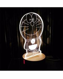 Doraemon Shape 3D Acrylic Lamp With Wooden Base - Golden