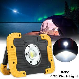 30W COB LED Portable Battery Power Flood Spot Light Work Camping Outdoor Lamp Yellow