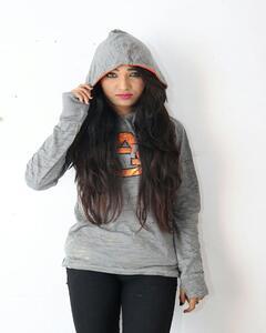 Grey Cotton Fleece Printed Hoodie For Women