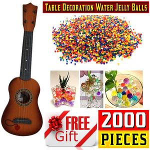 Free 2000Pcs/Packet Imported Colored Orbeez Soft Crystal Water Balls with Kids toys Small Guitar for 3 + Age Kids 12 Inches - Brown